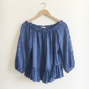 Rebeecca Taylor Blue Embroidered Peasant Top
